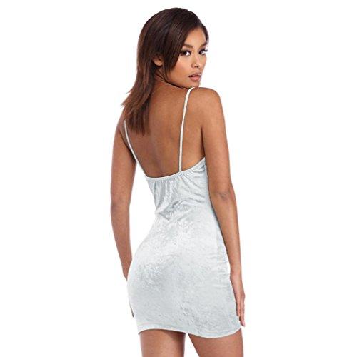 Sannysis Damen Sleeveless Samt Bodycon Club Minikleid Weiß