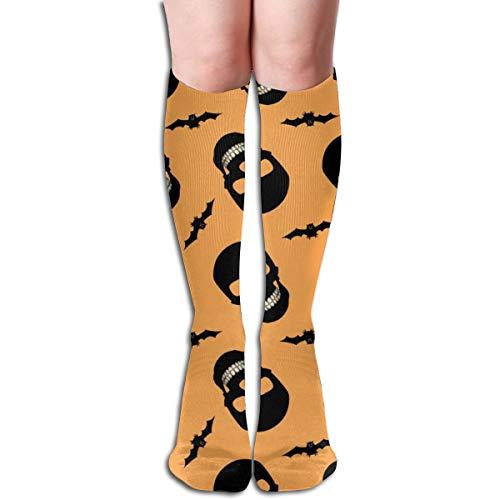 Women's Fancy Design Stocking Halloween Skulls And Bats Orange Multi Colorful Patterned Knee High Socks 19.6Inchs (Bat Halloween Design)