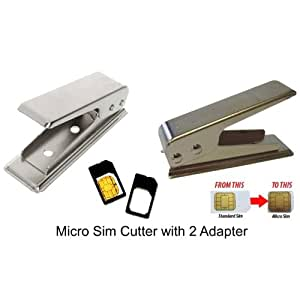 Concept4u Micro Sim Cutter with 2 Adapters Iphone 4 4G 4S Smart Phone IPAD Microsim. (i.e. Use one sim card for all device)