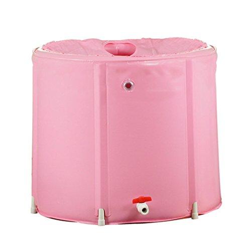 Baignoire Pliante Adulte Baignoire Gonflable Gratuite Seau de Bain pour Enfants Baignoire en Plastique Baignoires et sièges de Bain (Color : Pink, Size : 65 * 60 cm)