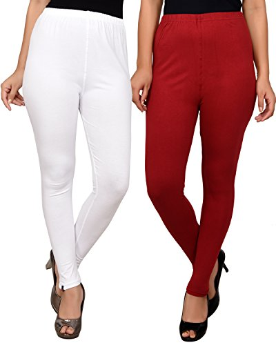 White and Maroon/Mehroon combo leggings for women -ankle leggings Combo-Best Quality 20 Plus Color Legging variations - Pack of combo- Ankle Length- Original -fine fabric only for girls / Women -Size- (L,XL,XXL Size)-Cotton fabric legging-Stretchable-fit to waist Size by Roop Trading Co