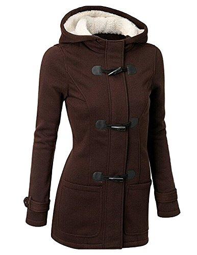 Byd da donna giacca cappotto con cappuccio giacche abbottonato parka invernale outwear (l, marrone)