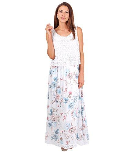 KRISP® Femmes Robe Maxi Bohème Classique Uni Tendance Mode Blanc (4745)