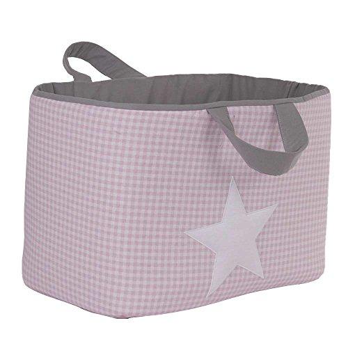 Funny Baby Vichy - Juguetero acolchado 30 x 45 x 27 cm, diseño estrellas, color rosa