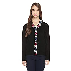 Rangmanch by Pantaloons Womens Plain/Solid Cardigan_Black_M