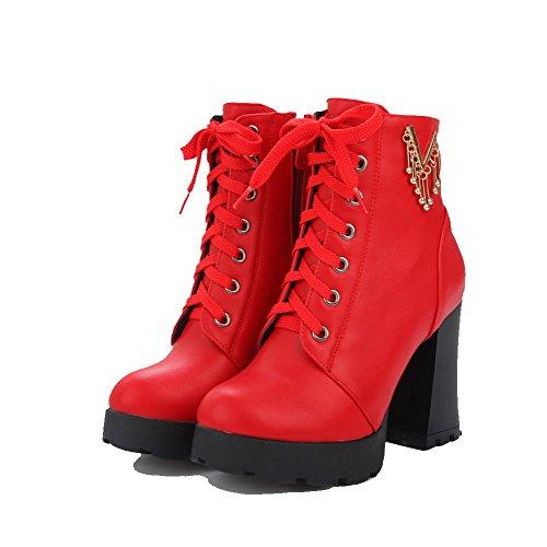 VogueZone009 Donna Tacco Alto Bassa Altezza Puro Cerniera Stivali con Ornamento Di Metallo Rosso