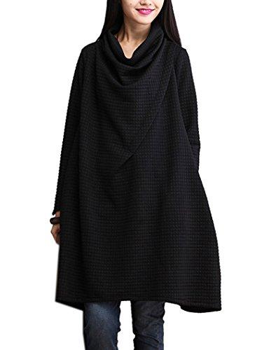 BININBOX Damen Rollkragen Baumwolle Kleid herbst Winter Langarm A-Linie Kleid Sweatkleid Longshirt knielang Schwarz