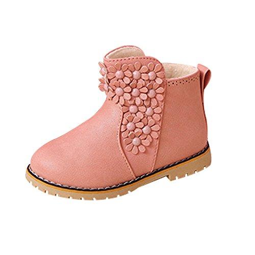 Mädchen Stiefel Schuhe mit Blumen Princess Lederschuhe Kinder weich Sohle Winter Warm Schuhe Boot Schwarz Rot (Rosa Mädchen Stiefel)