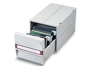 FELLOWES - Tiroir multimédia CD/DVD, en platine, pour 20 CDs, coffret Jewel, en plastique, empilable et joignable, avec fenêtre à étiquettes et intercalaires, (95