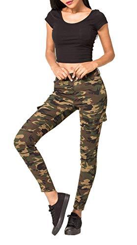 ArizonaShopping - Hosen Damen Treggings Cargo Stretch Skinny Jeans Hose D2222, Größe Damen:40 / L, Farben:Camouflage-1