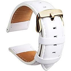 HVDHYY Bracelet en Cuir Veau Imperméable Sangle Super Douce Remplacer Outil De Réparation De Tige De Ressort Cadeau pour Hommes Et Femmes 18MM Blanc