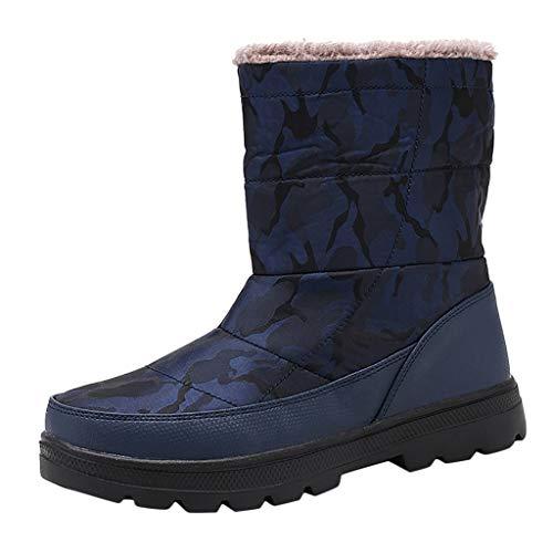 Yowablo Winterstiefel Herren Warme Gefüttert Wasserdicht Winterschuhe Trekking Wanderschuhe Plus Velvet Warm Camouflage Shoes wasserdichte Schneebaumwollstiefel (41 EU,Herren-Blau)