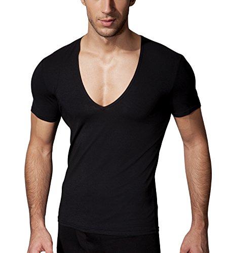 Doreanse Herren T-Shirt tiefer Ausschnitt Stretch Slim Fit Shirt Mens T-Shirt Deep V-Neck (L - 52/54, Schwarz) (V-neck Baumwoll-mischung Pullover)