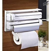JK Roxx® Presents 4 in 1 Foil Cling Film Tissue Paper Roll Holder for Kitchen with Spice Rack -White | Kitchen Triple…