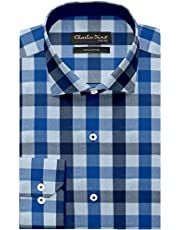 100% Giza Cotton Navy Blue & Royal Blue Checkered with Herringbone Shirt for Men Regular FIT for Casual WEAR