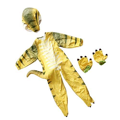 Perfeclan Dinosaurier Kostüm T-Rex Jumpsuit, Geschenk für Kinder - Gelb