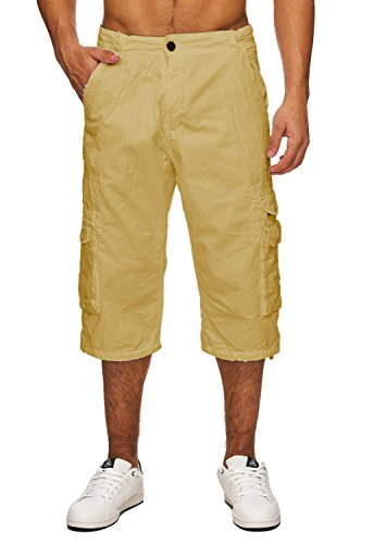 Herren Cargo Shorts Kurze Jeans Bermuda Hose H1741 Beige