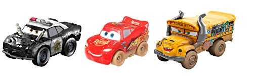Disney Cars GBC70 - Cars Mini Racers 3er-Pack Derby Serie, Dirty Miss Fritter, Dirty McQueen, APB, Spielzeug ab 3 Jahren
