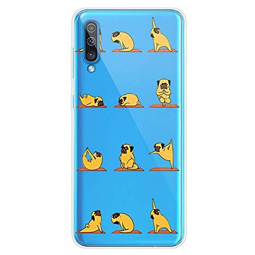 Herbests Kompatibel mit Samsung Galaxy A70 Hülle Transparent mit Muster Motiv Crystal TPU Silikon Handyhülle Weich Durchsichtige Schutzhülle Handytasche Softcase Backcover,Yoga Hund