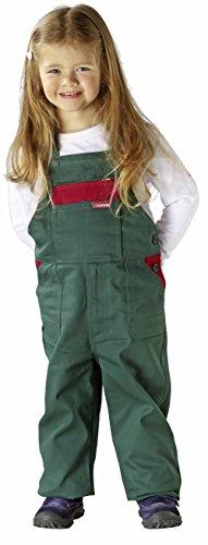 Planam Kinderlatzhose in verschiedenen Farben, Kinder Arbeits-Latzhose (122/128, grün/rot)