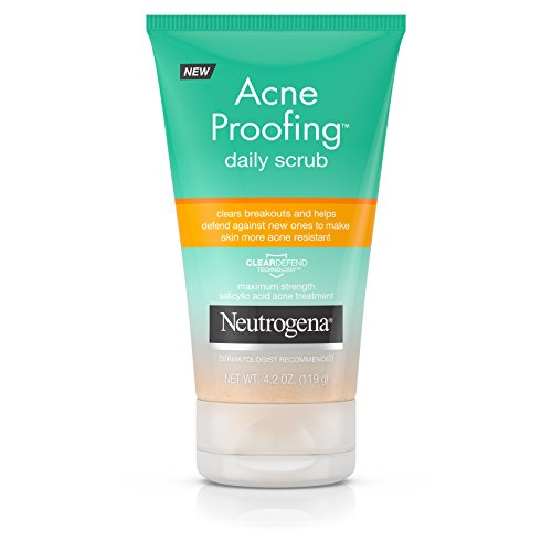 Neutrogena Acne Proofing Daily Salicylic Acid Treatment Exfoliating and Cleansing Face Scrub, 4.2 Ounce -