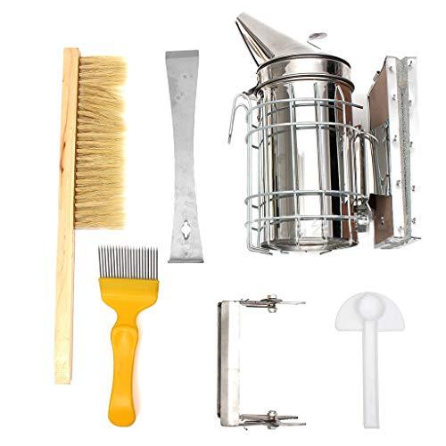 Ninbo Bienenzucht liefert 6 Stücke Rauch Sprayer Bee Pinsel Nadel Schneidmesser Ente Bill Feeder Nest Rahmen Clamping Scraper Set Werkzeug (6 stücke) -