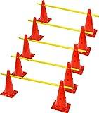 RHINOS sports Steckhürden Mini 5er-Set | 10 rote Kegel: 30cm | 5 gelbe Stangen: 60cm