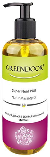 500ml Sparpackung Greendoor Massageöl duftneutral Super Fluid PUR - BIO Jojobaöl + Aprikosenkernöl, neutral, essbar, ohne Duftstoffe, für die physikalische Therapie geeignet, Naturkosmetik