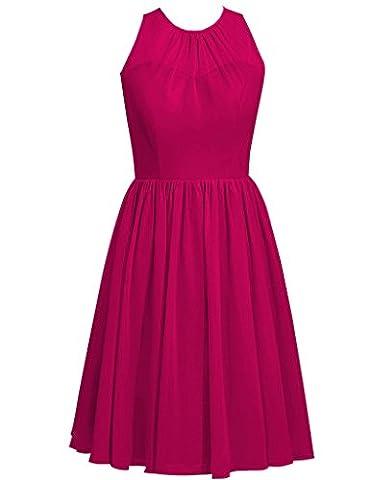 HUINI Cowl Ansatz Kurzschluss Chiffon Hochzeits Brautjunfer Abschlussball Kleid-Partei Formale Kleider Size 52