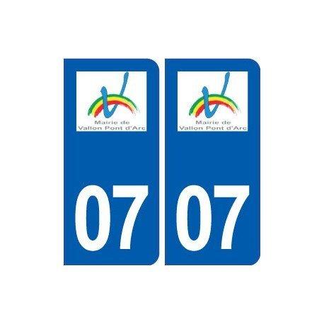 07 Vallon-Pont-d'Arc logo ville autocollant plaque stickers - droits