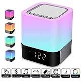 Lampe de chevet 5 en 1 LED avec haut-parleur Bluetooth 12/24H Calendrier numérique 7 couleurs Touch Control Night Light Supporte TF et carte SD Meilleur cadeau pour les enfants et les amis