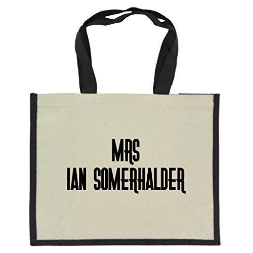 mrs-ian-somerhalder-en-negro-estampado-en-yute-grande-bolsa-de-la-compra-con-negro-asas-y-recortar