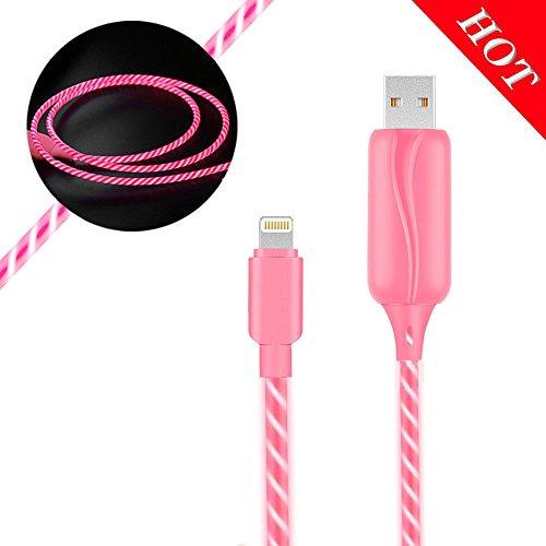 JIAMA LED Leuchtet Datenkabel 3ft 360 Grad EL-Licht Sichtbares Glühendes Telefon USB-Ladekabel Kompatibel für iPhone X / 8/8 Plus / 7/7 Plus / 6s / 6s Plus / 6/6 Plus / 5s / 5c / 5(Rosa)