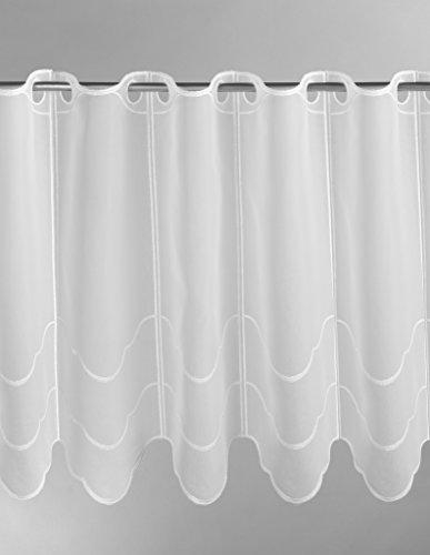 Scheibengardine Wellenmuster quer 90 cm hoch | Breite der Gardine durch gekaufte Menge in 15,5 cm Schritten wählbar (Anfertigung nach Maß) | weiß | Vorhang Küche Wohnzimmer