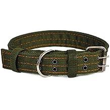 Cdet Collar de perro de nylon con doble pecho acolchado ajustable duros y duraderos para mascotas Verde