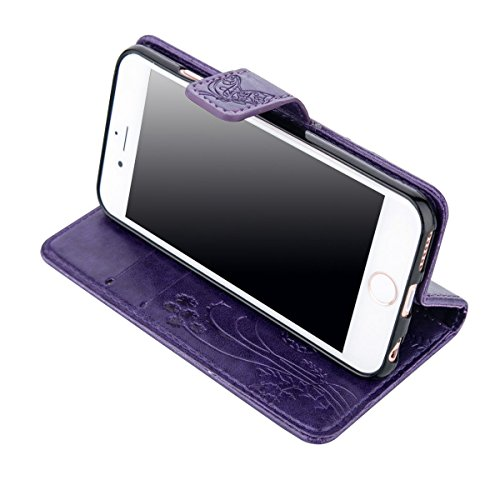 iPhone 6S Plus Hülle Case,iPhone 6 Plus Hülle Case,Gift_Source [Card Slot] Magnetic Closure PU Leder Blume Schmetterling Embossed Brieftasche Hülle Case Folio Flip Hülle Case mit Strap für iPhone 6S P E01-07-Purple