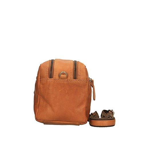 Chicca Borse Luxury Travel Bag Tasche Umhängetasche mit Griff Unisex in echtem Leder - 26x16x13 cm Bräunen