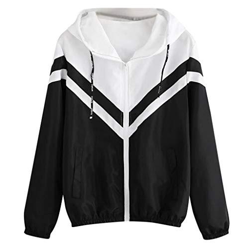 SoonerQuicker Cardigan Damen Lang Mit Kapuze Women Sport Coat Long Sleeve Thin Skinsuits Kapuzenpullover Zipper Pockets SchwarzXL -