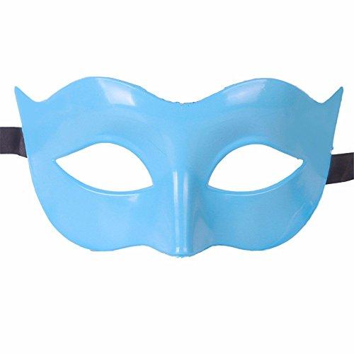 Gesichtsschutz Domino falsche Front Halloween Kostüm Tanz Maske Halb Gesicht Tanz Maske Flache Maske männliche Maske Weiblich Blau ()