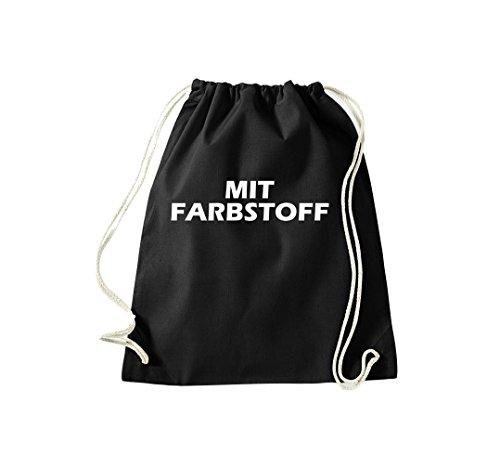 Turnbeutel mit Farbstoff Fun Spass Humor Hipster Gymsack Kultsack Schwarz
