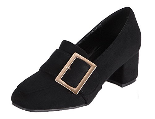 AgooLar Femme PU Cuir Couleur Unie Tire à Talon Correct Chaussures Légeres Noir