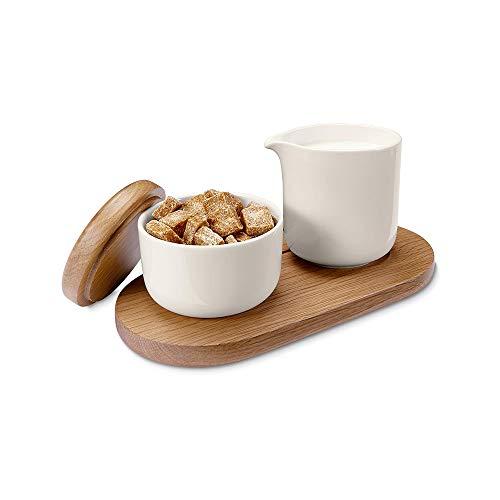 Tchibo Barista Zuckerdose und Milchkännchen aus Porzellan inkl. Eichenholz Tablett