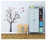 madras24 Wandtattoo Kinder Babyzimmer Aufkleber Eule Eulen Wandsticker Wand Waldtiere Kinderzimmer Wandaufkleber Dekoration fürs Baby Kindergarten Baum Tiere