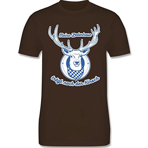 Shirtracer Oktoberfest Herren - Meine Lederhose Trägt Noch der Hirsch - Herren T-Shirt Rundhals Braun