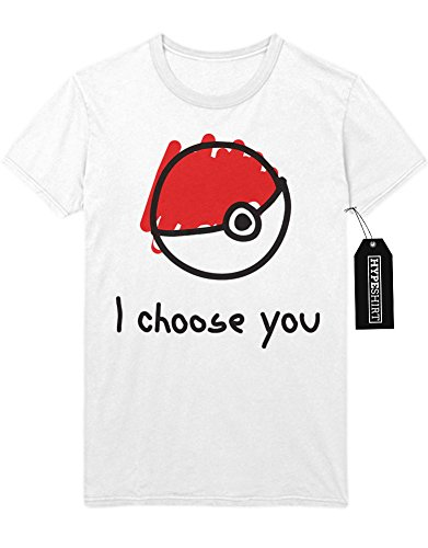 T-Shirt Pokemon Go Pokeball I choose you Kanto 1996 Blue Version Pokeball Catch 'Em All Hype X Y Nintendo Blue Red Yellow Plus Hype Nerd Game C980112 Weiß