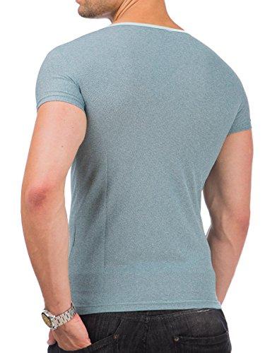 T-Shirt Shirt Herren kurzarm V-Ausschnitt Tazzio meliert Look Mint