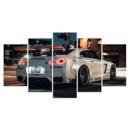 Karen Max Leinwandbild Nissan GTR weiß Rennsport Sport Auto Wand Kunst Bild Home Decor für Wohnzimmer Leinwand Bild Poster Artwork Size 5:8x12inchx2,8x16inchx2,8x20inchx1 Frame