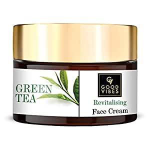 Good Vibes Green Tea Revitalising Face Cream, 50 g Skin Hydrating Soothing Light Weight Formula, Helps Delay Signs of Ageing, Natural, No Parabens & Sulphates, No Animal Testing