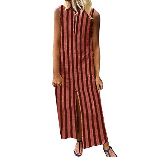 LSAltd Frauen-Sommer-Art- und Weiseklassiker-Weinlese Striped Sleeveless Plusgrößen-langes Kleid-beiläufige aufgeteilte Maxi Sommerkleid