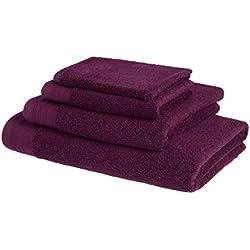 Juego de toallas de baño de lujo de algodón peinado egipcio de 600g/m2: 1 toalla 50x100cm + 1 toalla para invitado 30x50cm + 1 toalla de Ducha 70x140cm - MORADO